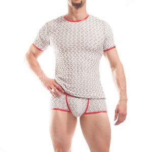 3D struktur shirt, white waves, baumwoll shirt. 3D Material, Rippmaterial,