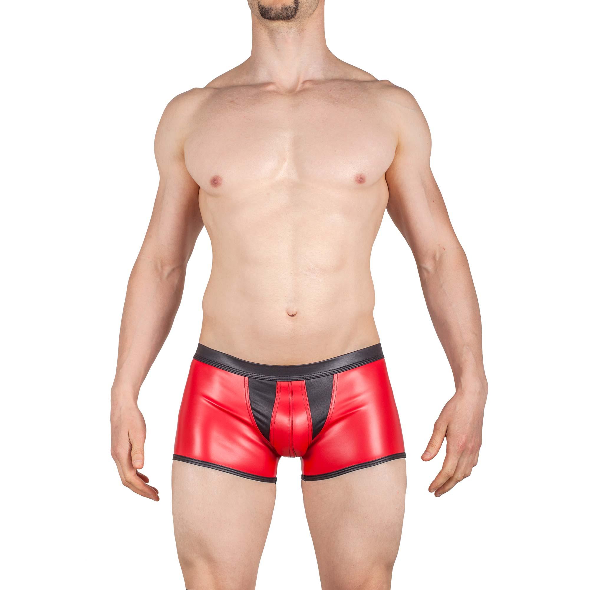 Redback Letherlike Leder Pants rot schwarz