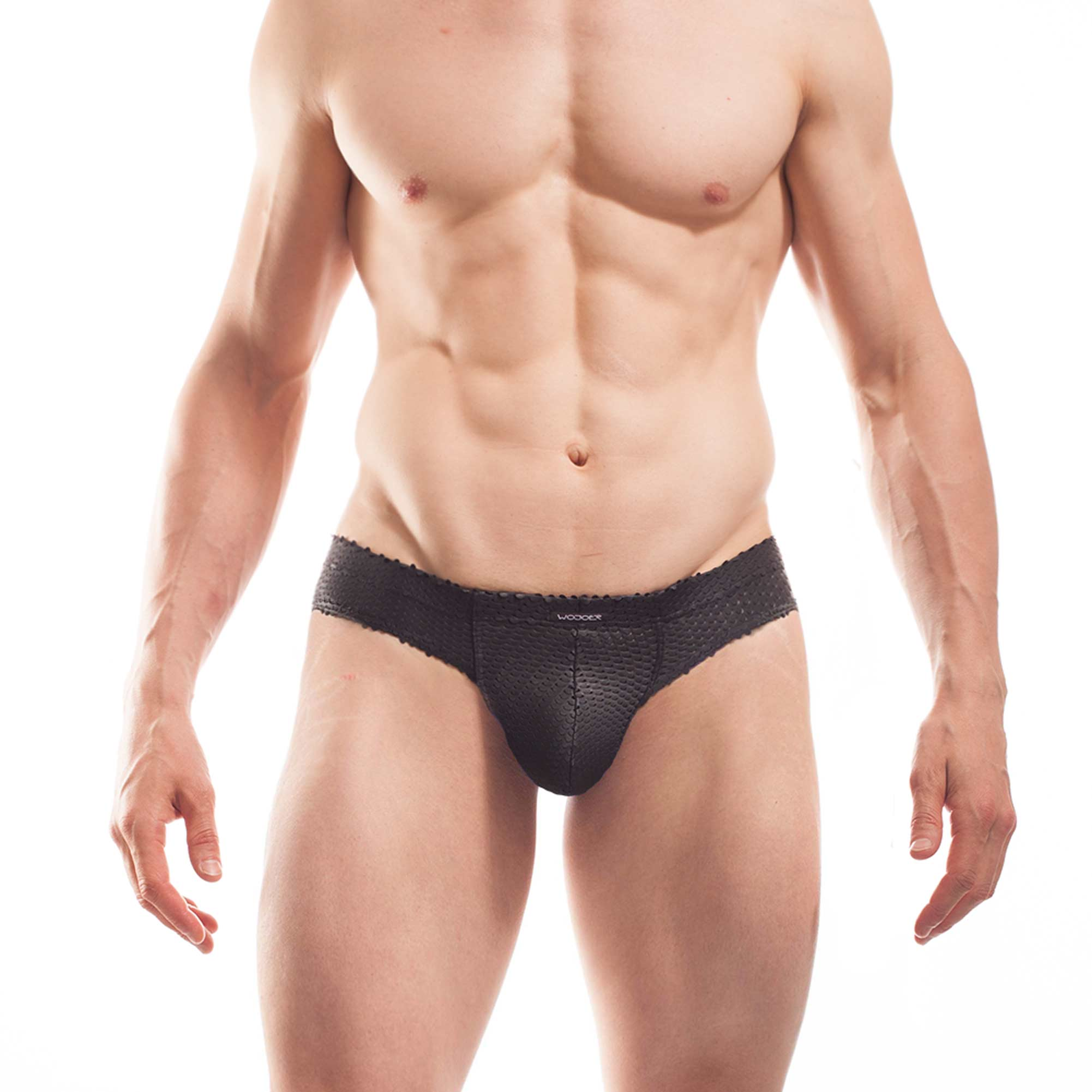 perforated leather brief