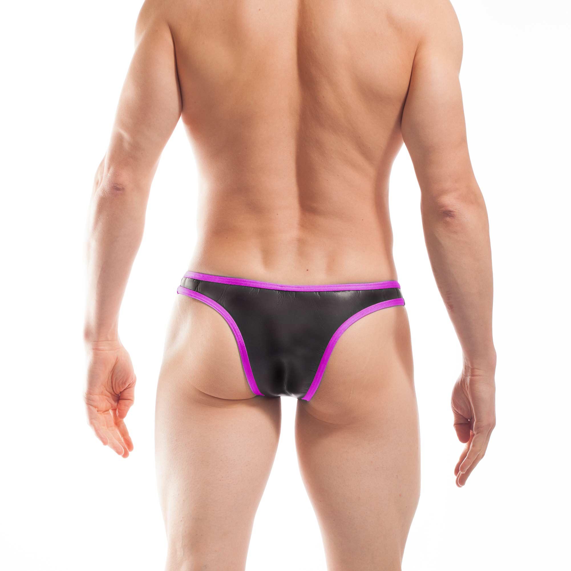 Bade Tanga, Neopren Tanga, Glatthautneopren, erotischer Brasil Slip, Männer Brasil, neon pink