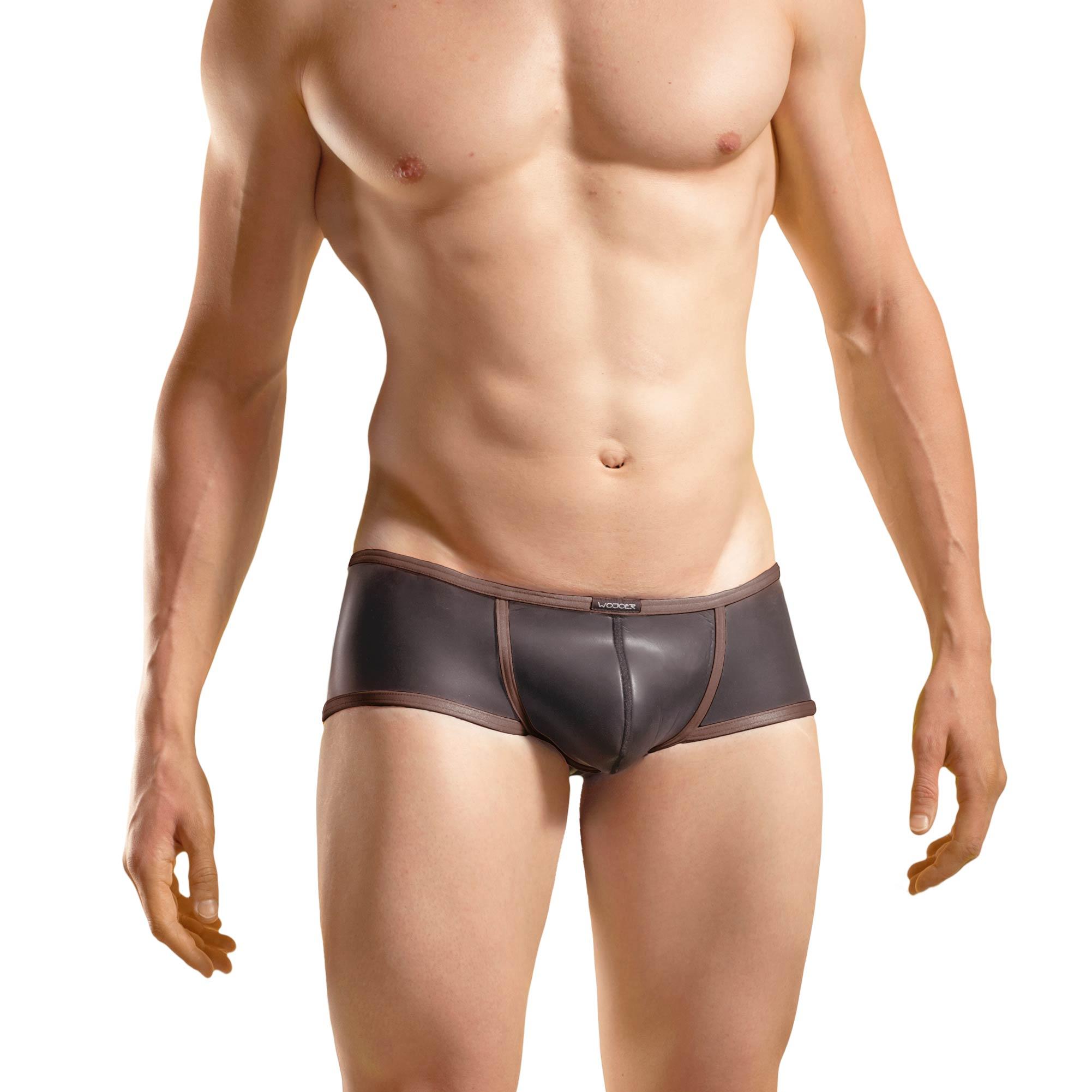 Bade Hipster, Neopren Pant, Glatthautneopren, erotische Badehose, Männer Pants, braun