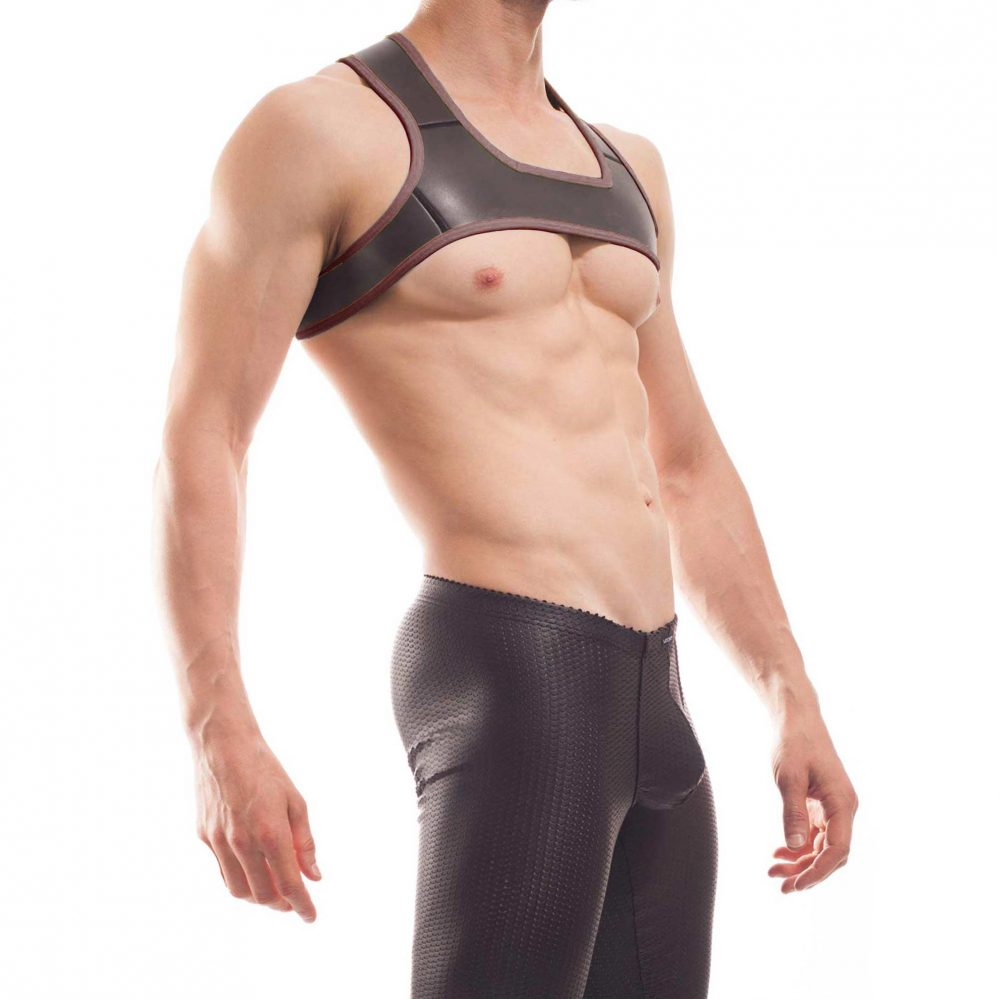 neopren harness, Wojoer Harness,Harnes, Brustgeschirr, Brustbänder Mann, Brustgurt, minitop, braun