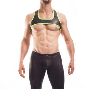 Wojoer Harness,Harnes, Brustgeschirr, Brustbänder Mann, Brustgurt, minitop, neon gelb