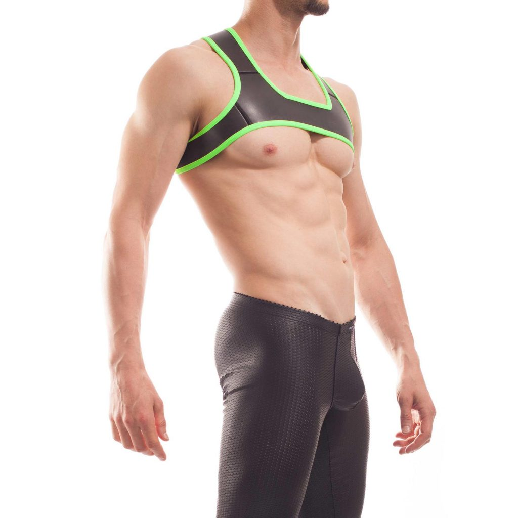 Wojoer Harness,Harnes, Brustgeschirr, Brustbänder Mann, Brustgurt, minitop, neon gruen