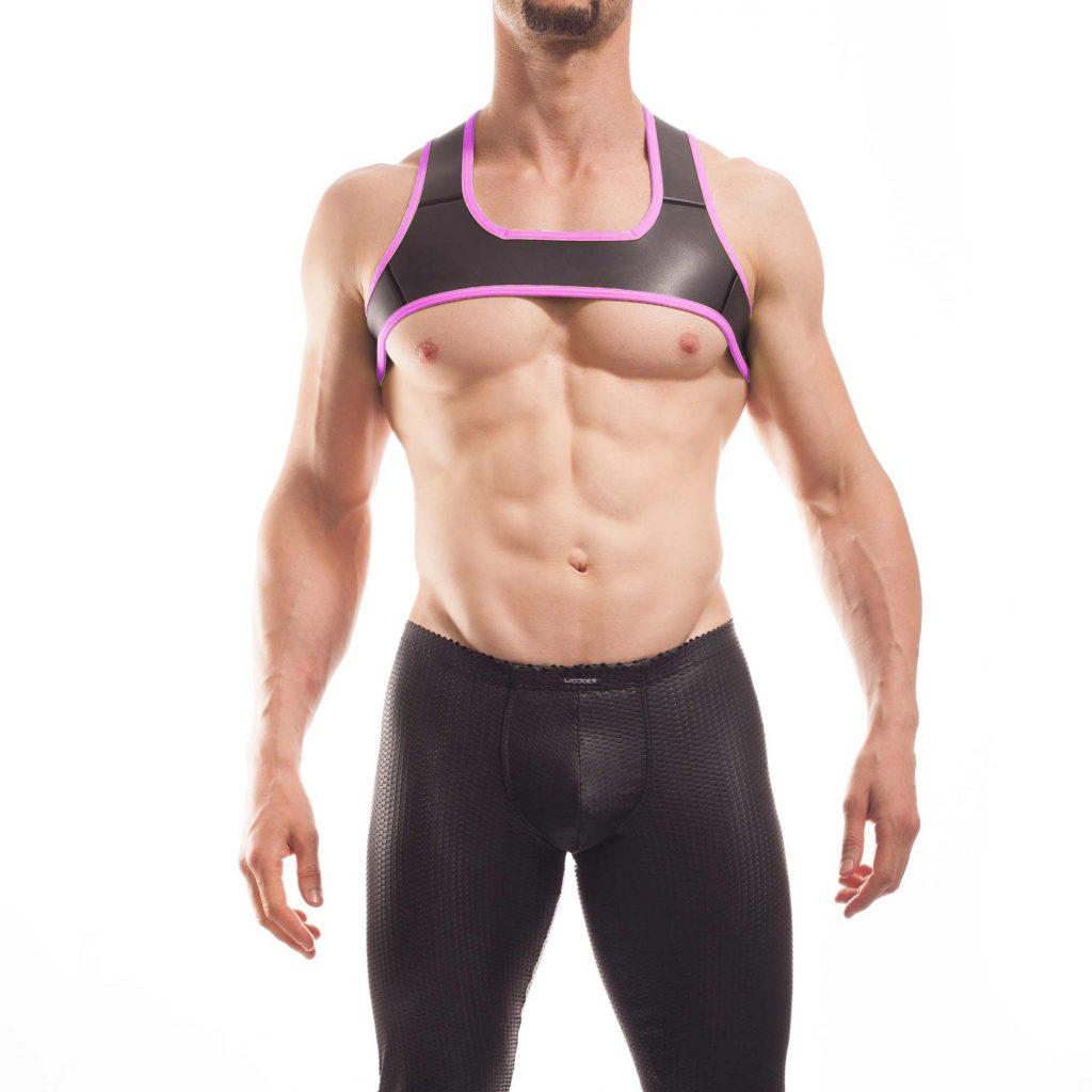 Wojoer Harness,Harnes, Brustgeschirr, Brustbänder Mann, Brustgurt, minitop, neon pink