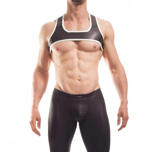 Wojoer neopren Harness,Harnes, Brustgeschirr, Brustbänder Mann, Brustgurt, minitop, weiss