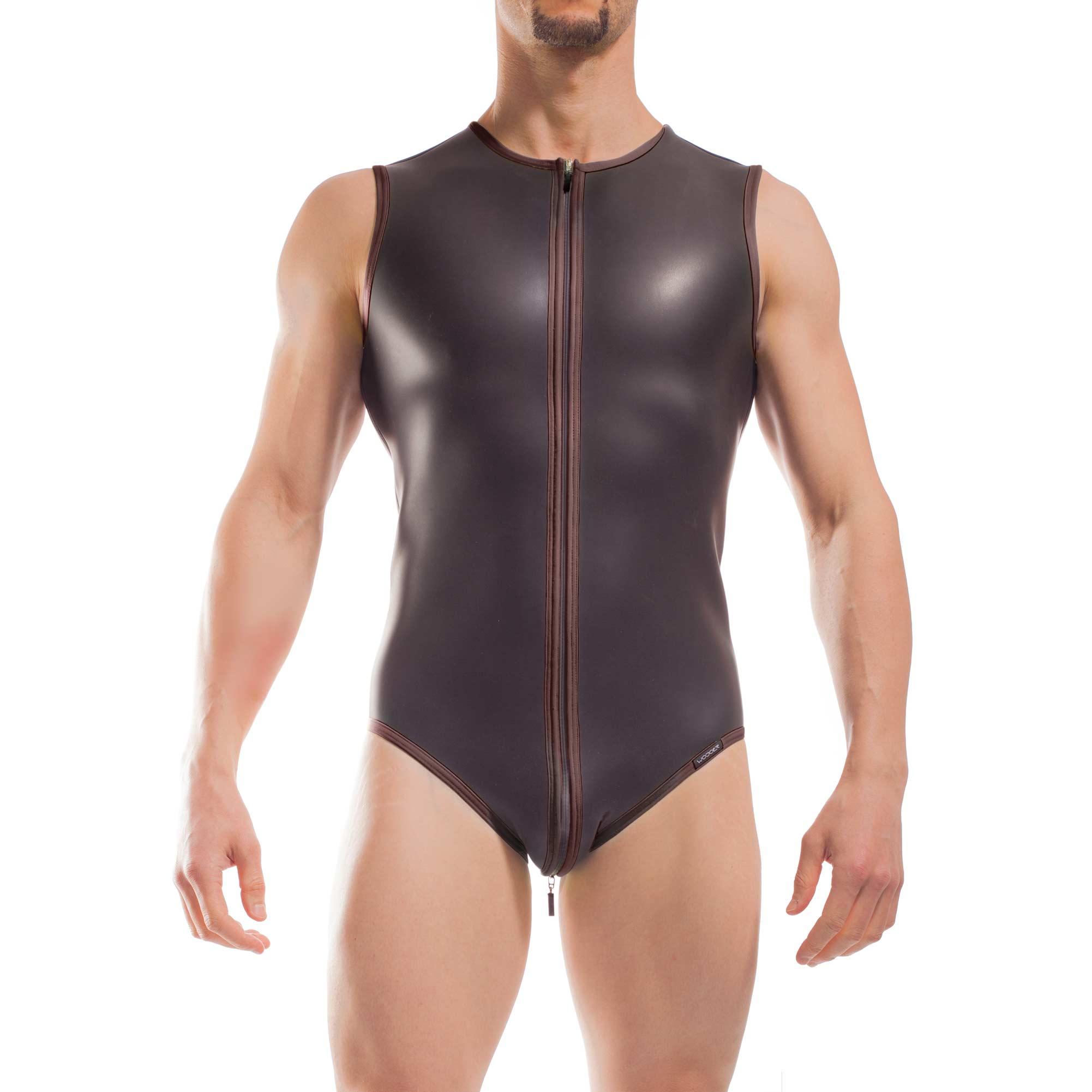 Wojoer Neopren Body, Slip Body, Glatthautneopren, Männer Ganzkörpernazug, Shorty, Herren Badeanzug, braun