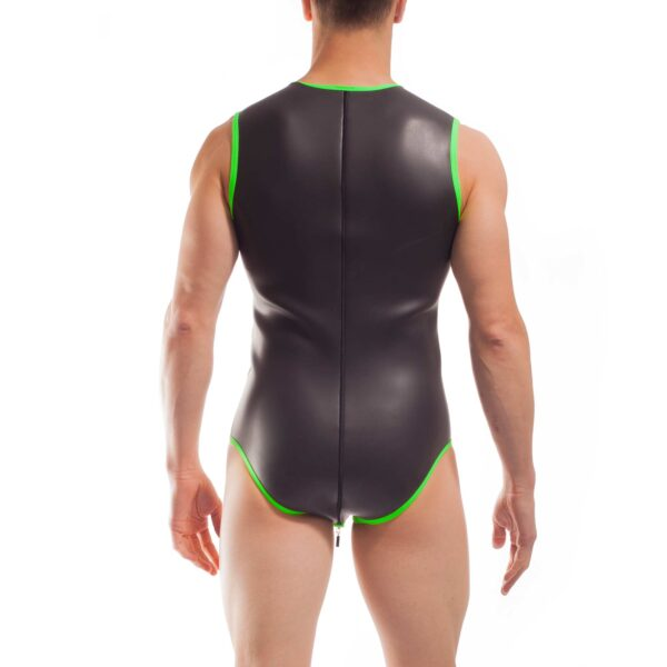 Wojoer Neopren Body, Slip Body, Glatthautneopren, Männer Ganzkörpernazug, Shorty, Herren Badeanzug, neon grün
