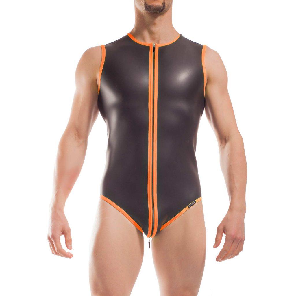 Wojoer Neopren Body, Slip Body, Glatthautneopren, Männer Ganzkörpernazug, Shorty, Herren Badeanzug, neon orange