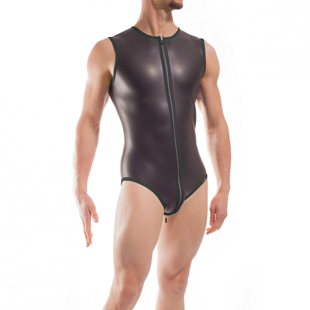 Wojoer Neopren Body, Slip Body, Glatthautneopren, Männer Ganzkörpernazug, Shorty, Herren Badeanzug, schwarz
