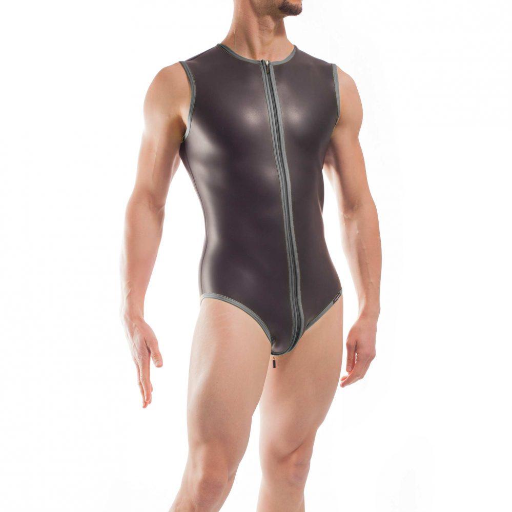 Wojoer Neopren Body, Slip Body, Glatthautneopren, Männer Ganzkörpernazug, Shorty, Herren Badeanzug, titanio grau