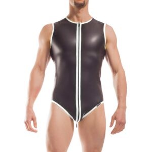 Wojoer Neopren Body, Slip Body, Glatthautneopren, Männer Ganzkörpernazug, Shorty, Herren Badeanzug, weiss