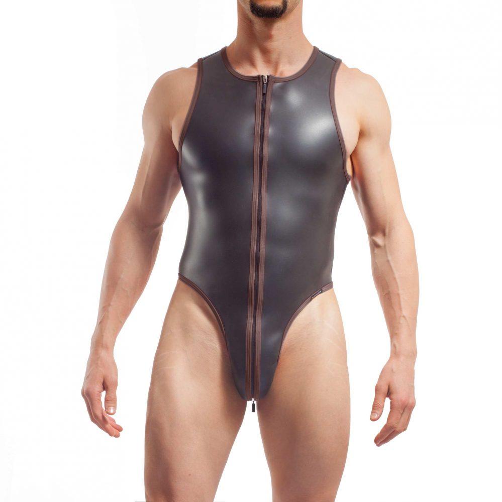 neopren string body, Wojoer Neopren Body, String Body, Glatthautneopren, Männer Ganzkörpernazug, String Shorty, Herren Badeanzug, braun