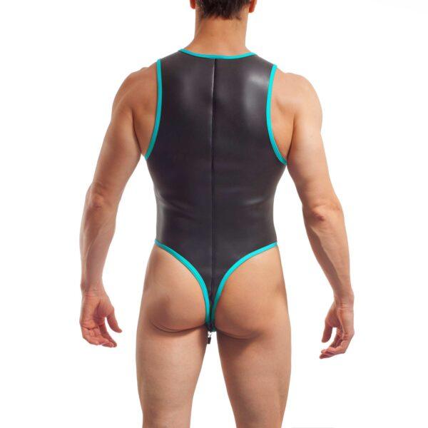 neopren string body, Wojoer Neopren Body, String Body, Glatthautneopren, Männer Ganzkörpernazug, String Shorty, Herren Badeanzug, eis blau