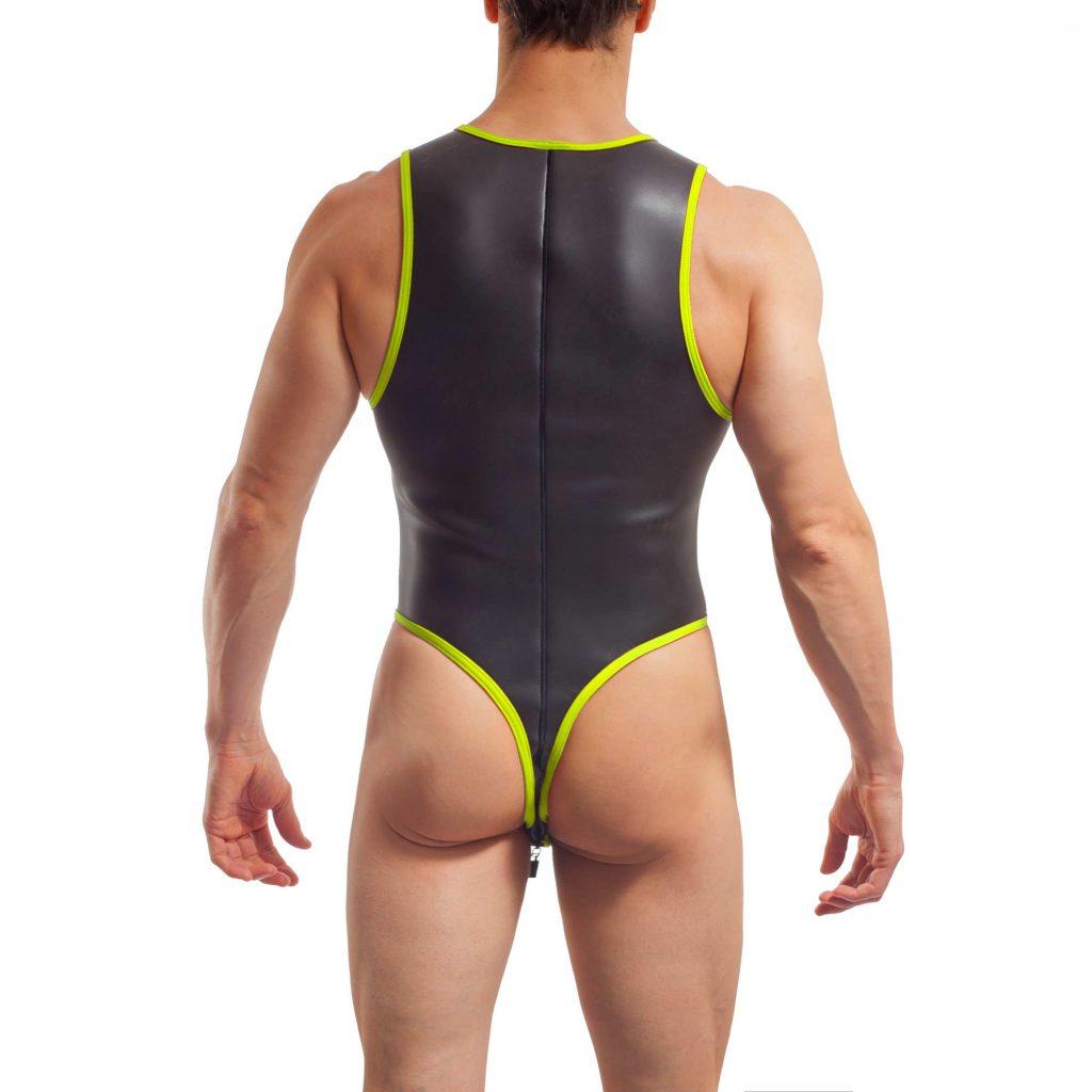 neopren string body, Wojoer Neopren Body, String Body, Glatthautneopren, Männer Ganzkörpernazug, String Shorty, Herren Badeanzug, neon gelb