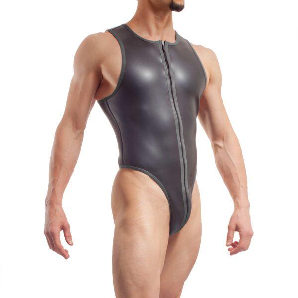 neopren string body, Wojoer Neopren Body, String Body, Glatthautneopren, Männer Ganzkörpernazug, String Shorty, Herren Badeanzug, titanio grau