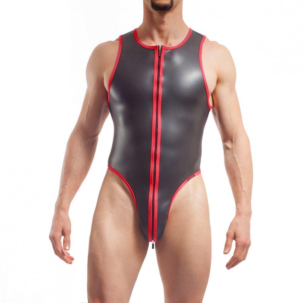 neopren string body, Wojoer Neopren Body, String Body, Glatthautneopren, Männer Ganzkörpernazug, String Shorty, Herren Badeanzug, rot