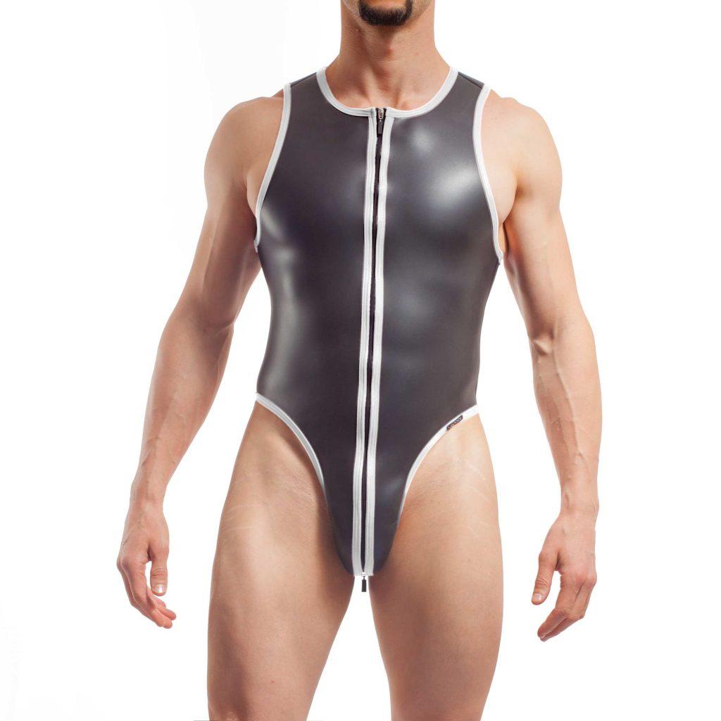 neopren string body, Wojoer Neopren Body, String Body, Glatthautneopren, Männer Ganzkörpernazug, String Shorty, Herren Badeanzug, weiss