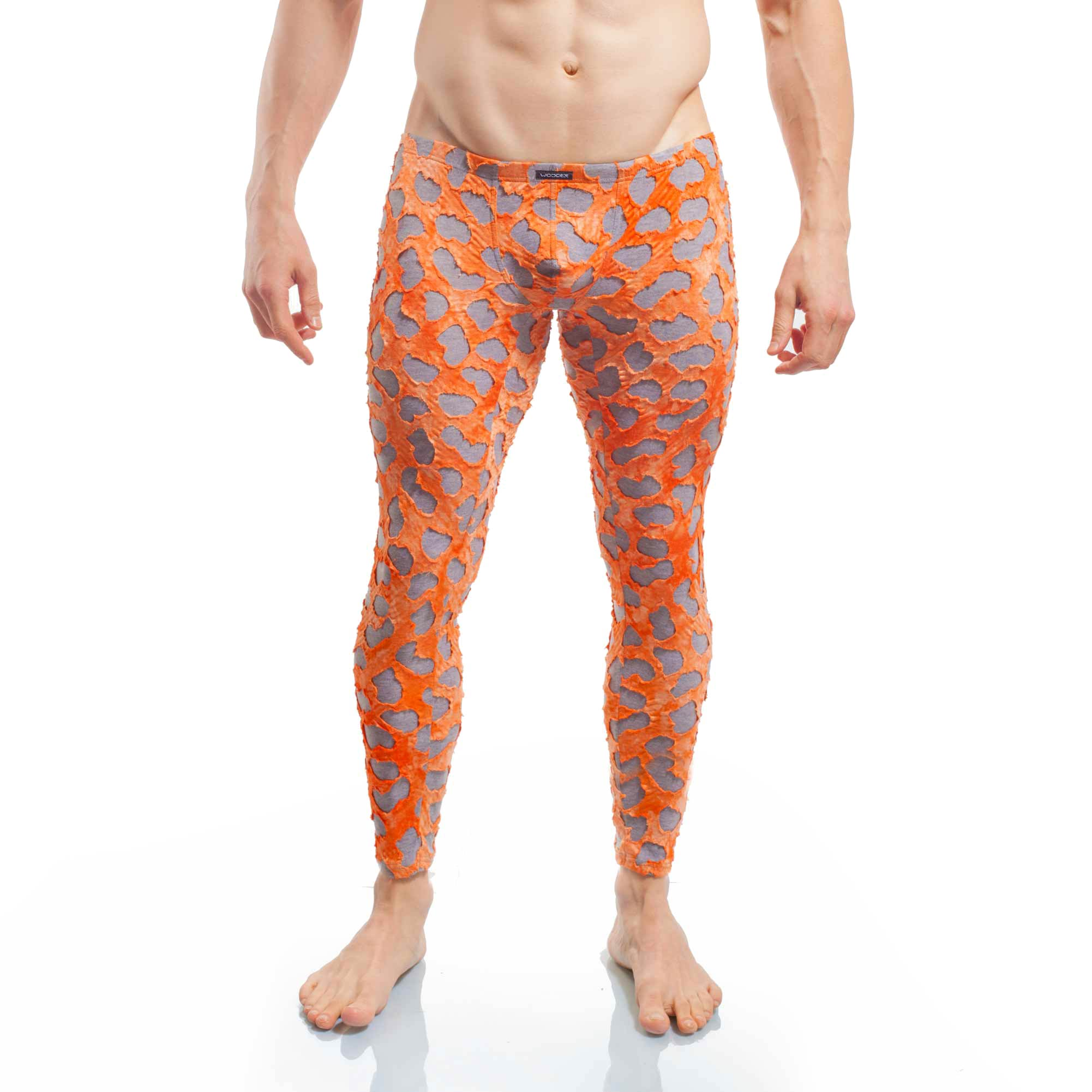 punk leggings, tear up, orange grau, baumwolle, viskose, warm, weich leggings, longjohns, unterhose Wojoer