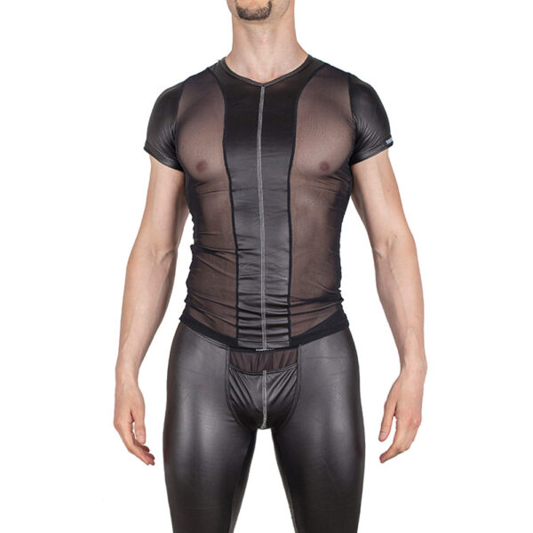 Leatherlike Netz Shirt, silvercut
