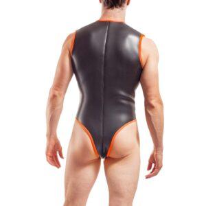 Bodysuit Herren Schwarz Orange Clubparty