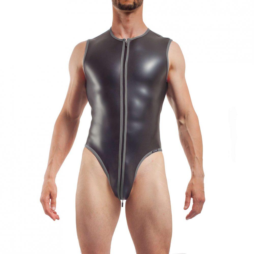 Herren Body Fetisch Grau Silber Suite