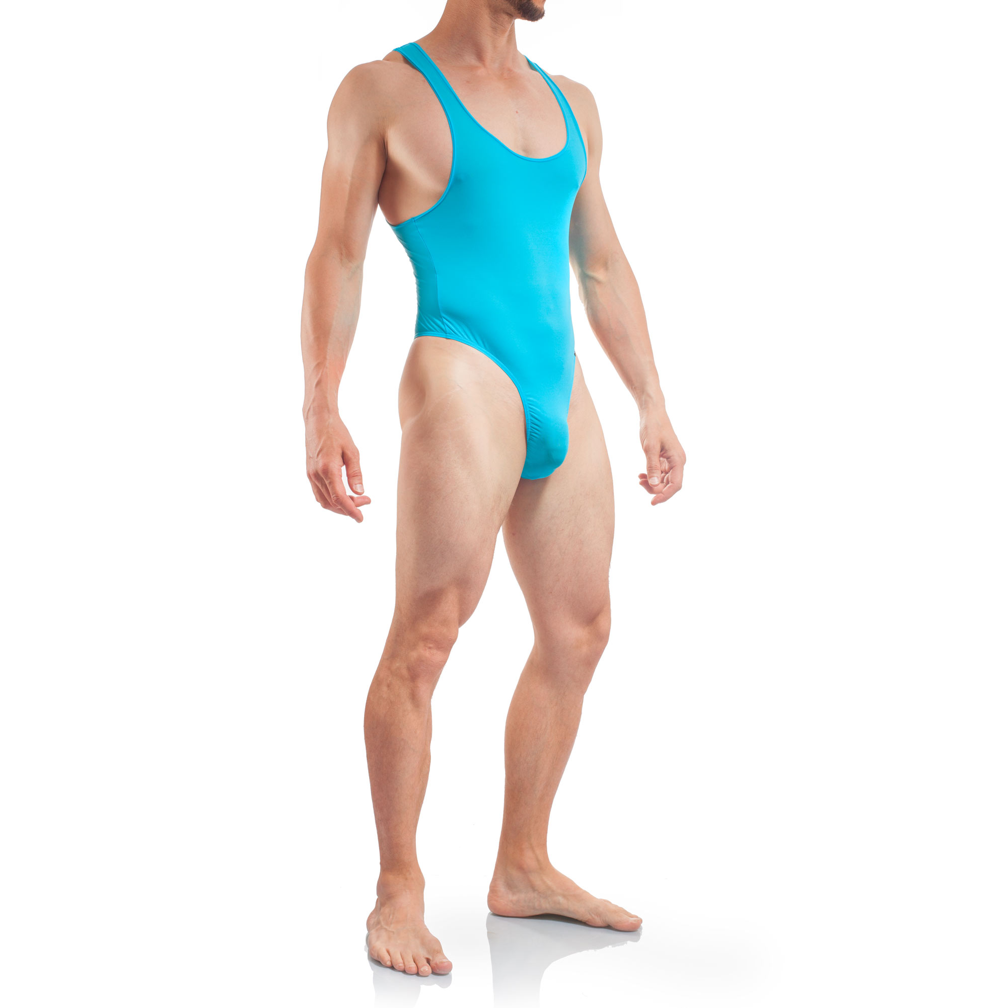 swimsuit men, Body Herren Tangabody, Jumpsuite, Eisblau, Basic Body Men, Stringbody, Männer Badeanzug