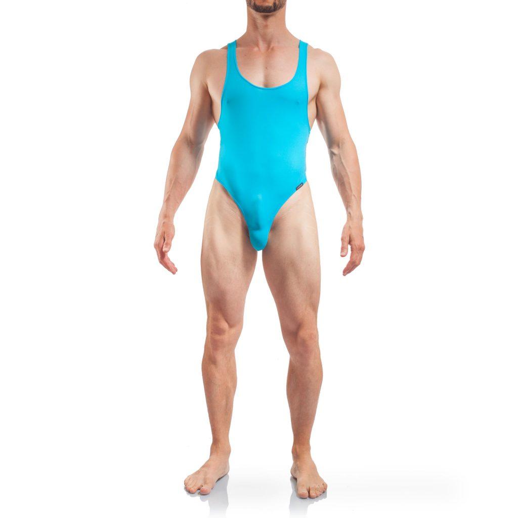 Body Herren Tangabody, Jumpsuite, Eisblau, Basic Body Men, Stringbody, Männer Badeanzug