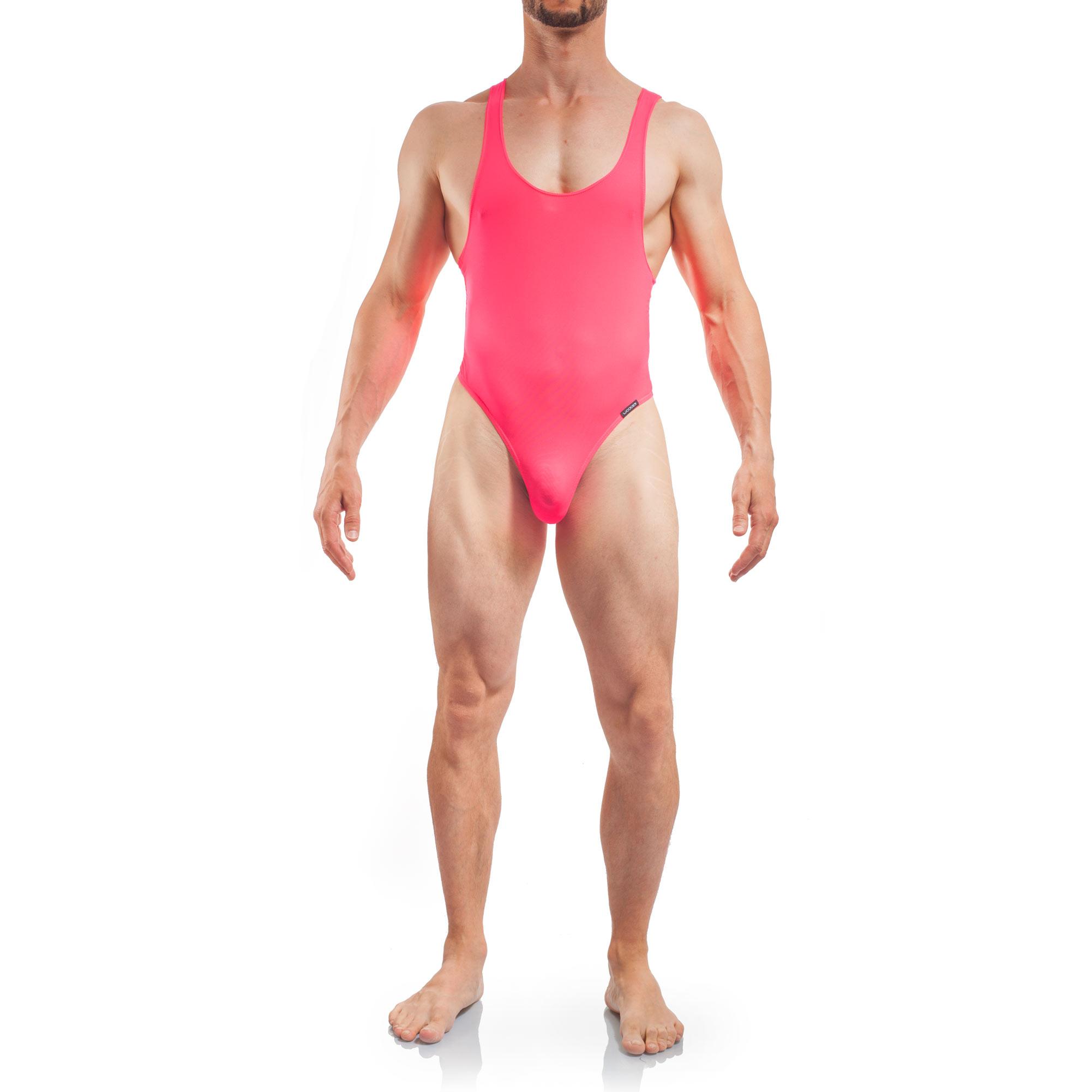 swim bodysuit men, Basic Body Men, Tangabody Neon pink, Coral Herren Badeanzug