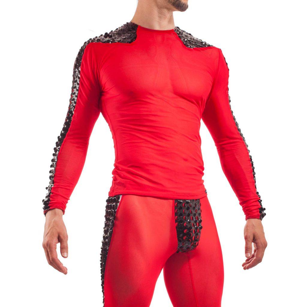 Netz Lack Shirt, Shirt Netz Herren Oberteil Rot mit Lack