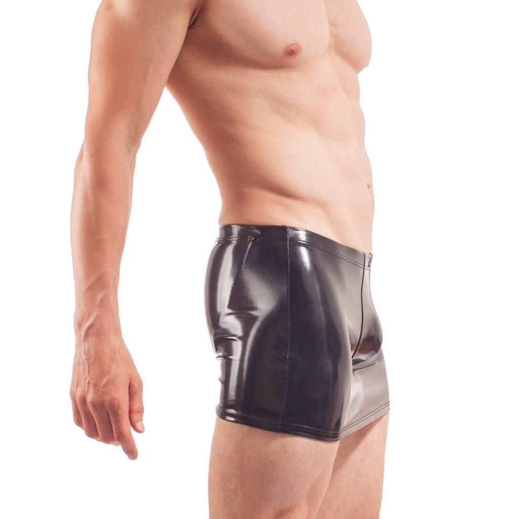Herren Rock Jock, wet leather skirt, schwarzer lack, glossy Rock, Glanz Lack Rock mit Rockbändern und enges Suspensorium von Wojoer