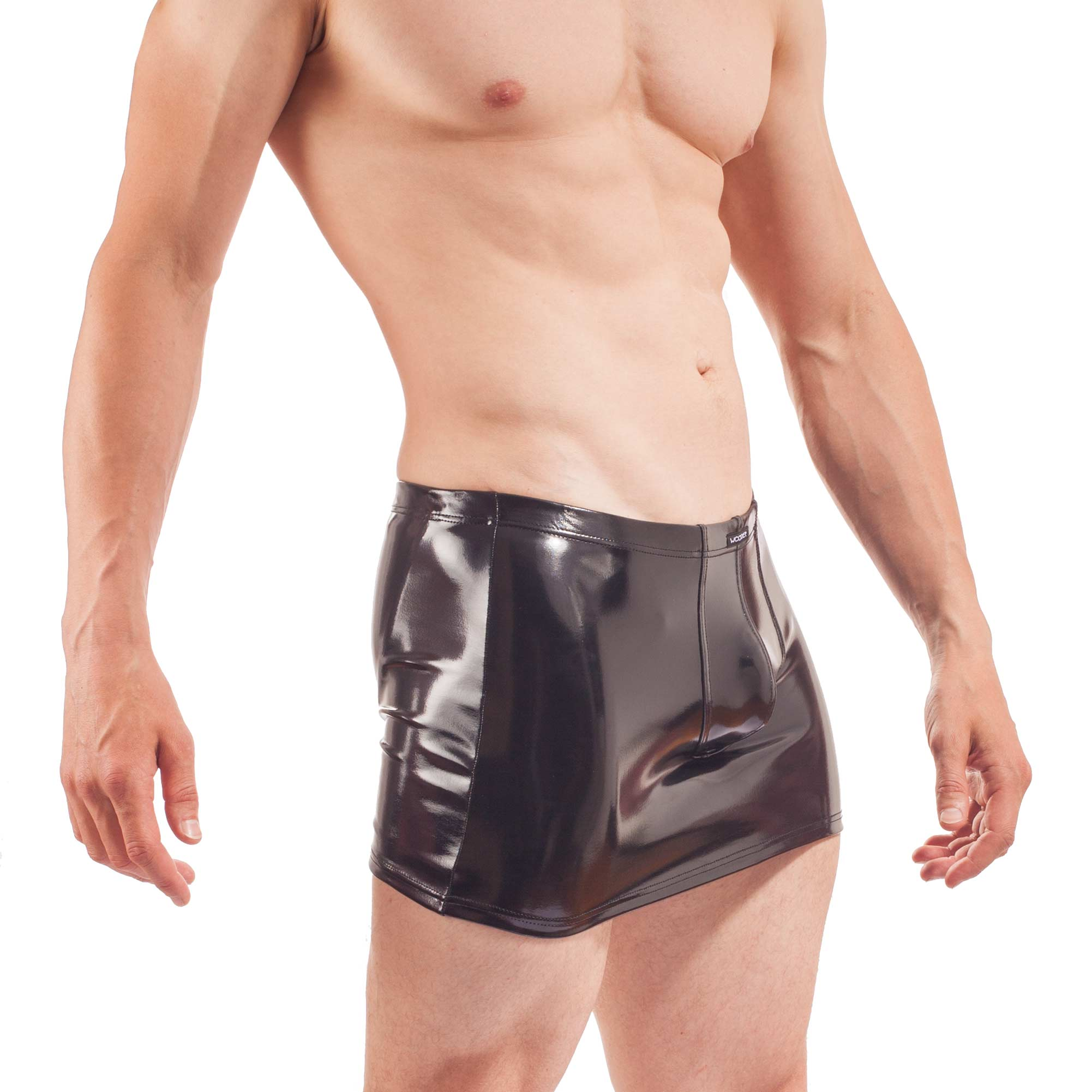 Herren Rock Jock, wet leather skirt, schwarzer lack, glossy Rock, Glanz Lack Rock mit Rockbändern und enges Suspensorium von Wojoer
