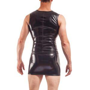 wet leather shirt, schwarzer lack, glossy weste, glanz lack weste mit Reißverschluss von Wojoer