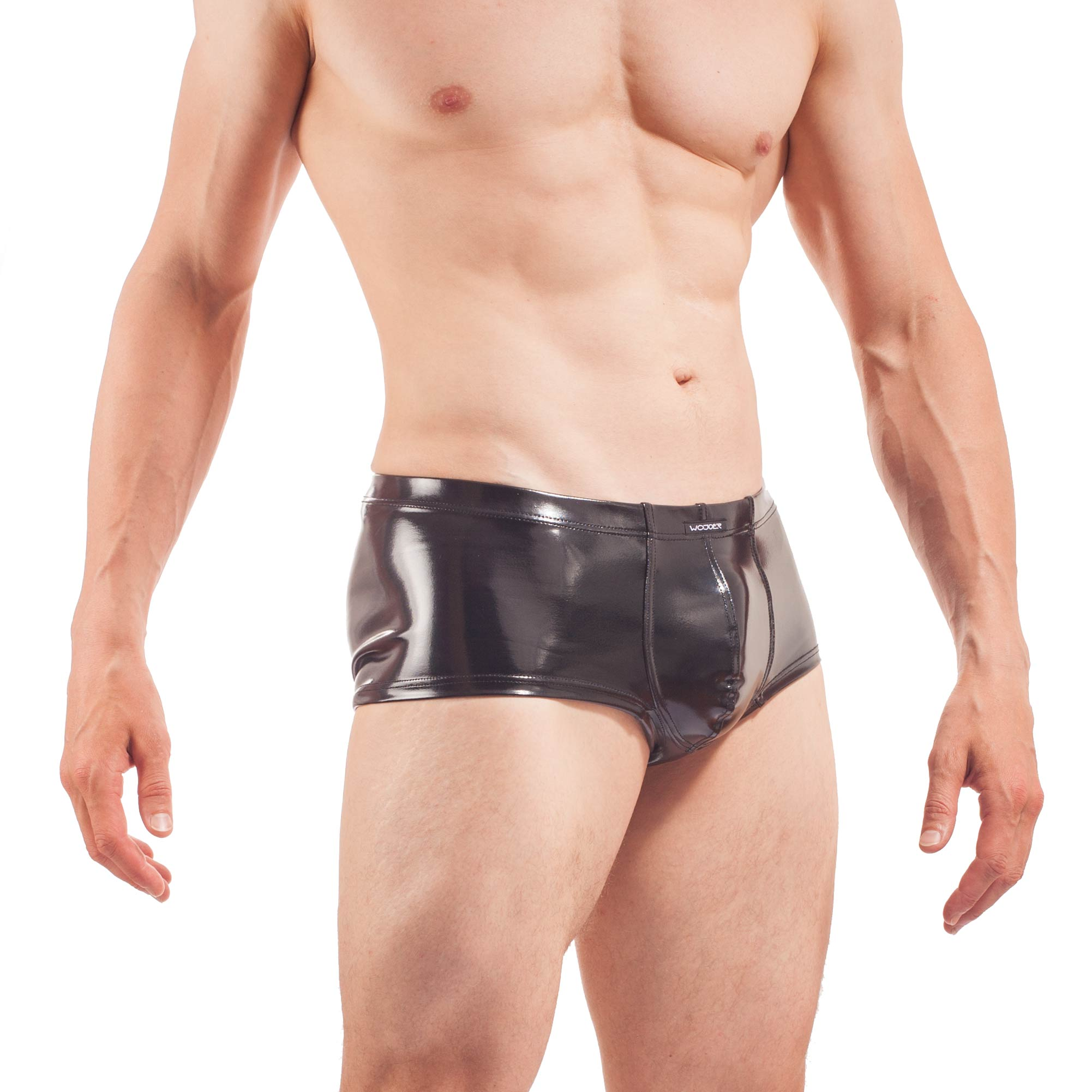 glossy wet leather Pants, Hipster in wetleather, Lack Glanz, Gummihose, Rubber Shorts, schwarzer Glanz, Fetisch