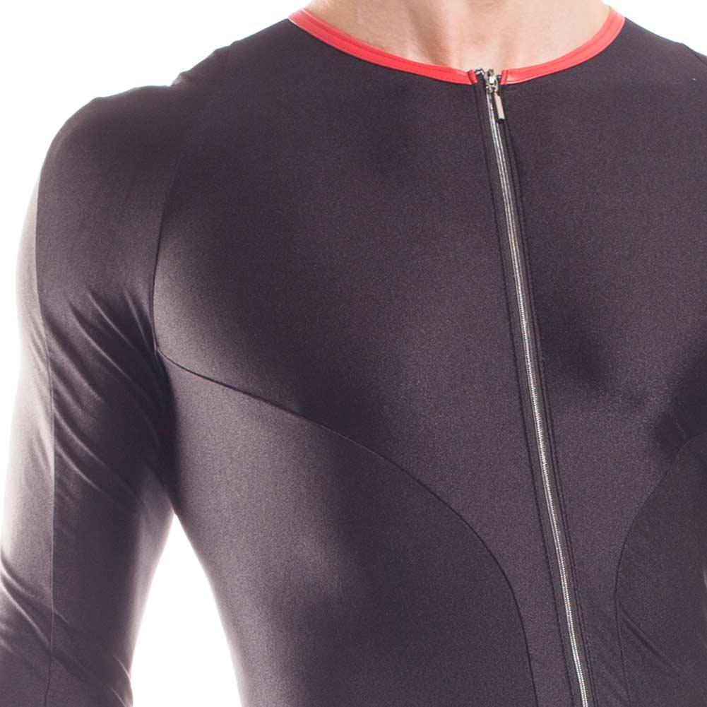 Bodysuit, Herren, 2-Wege-Reißverschluss, super strechy, Kunstledereinfassung