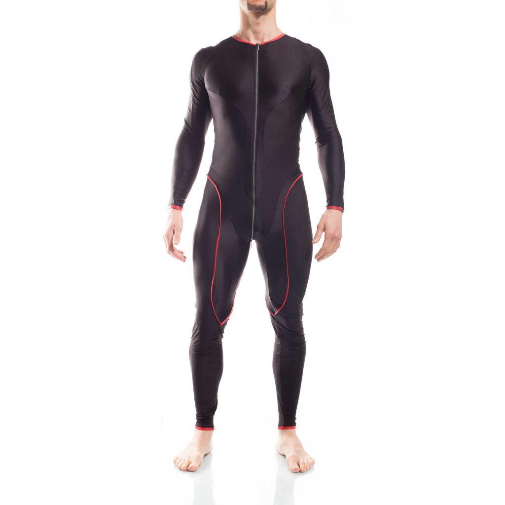 Micro Bodysuit, Herren, 2-Wege-Reißverschluss, super strechy, Kunstledereinfassung
