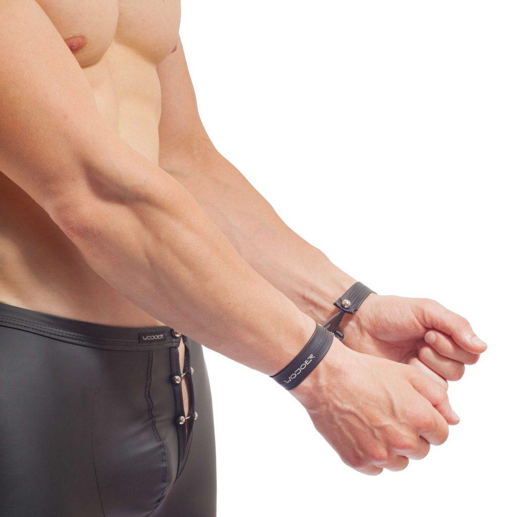 Piercing Handschellen Set, mattes Leder, Synlex, schwarz, Leatherlike, BTR, 2x Armband
