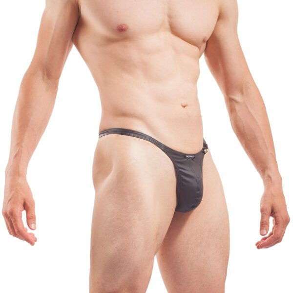 Piercing Mini Push String, mattes Leder, Synlex, schwarz, Leatherlike, eng anliegender Mini Push String