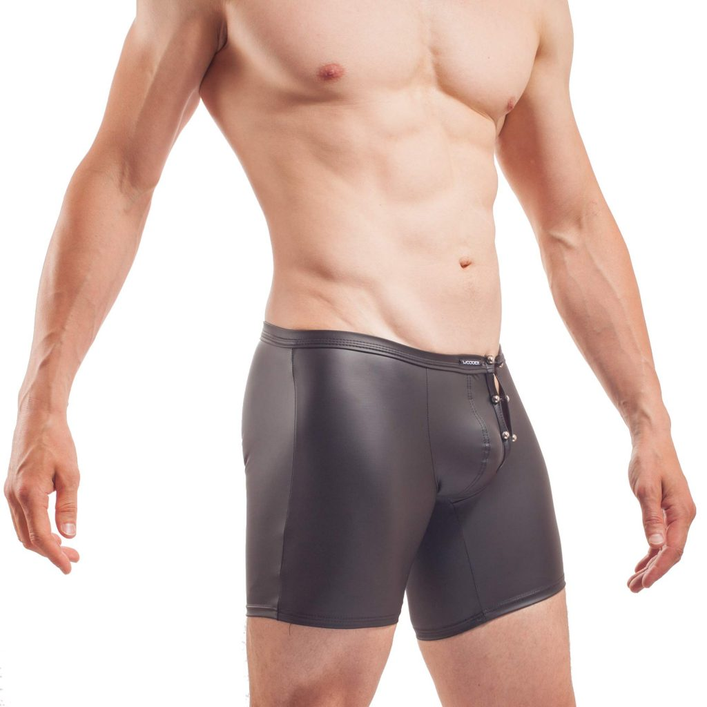 Piercing Longpants, mattes Leder, Synlex, schwarz, Leatherlike, eng anliegende Longpants