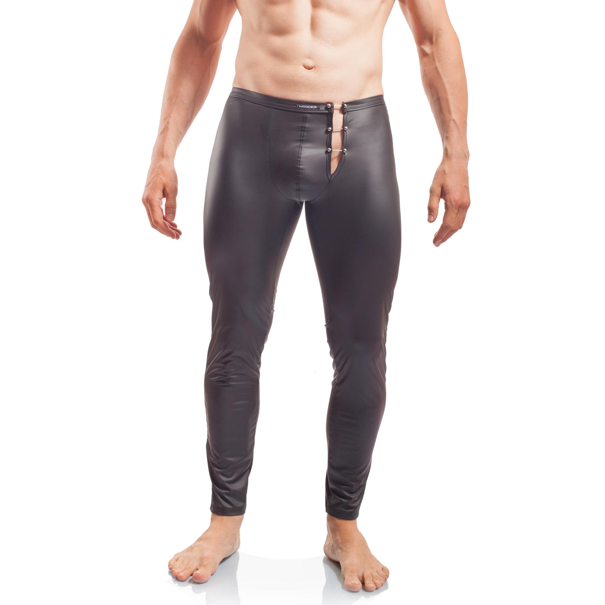 Piercing Leggings, mattes Leder, Synlex, schwarz, Leatherlike, eng anliegende Leggings