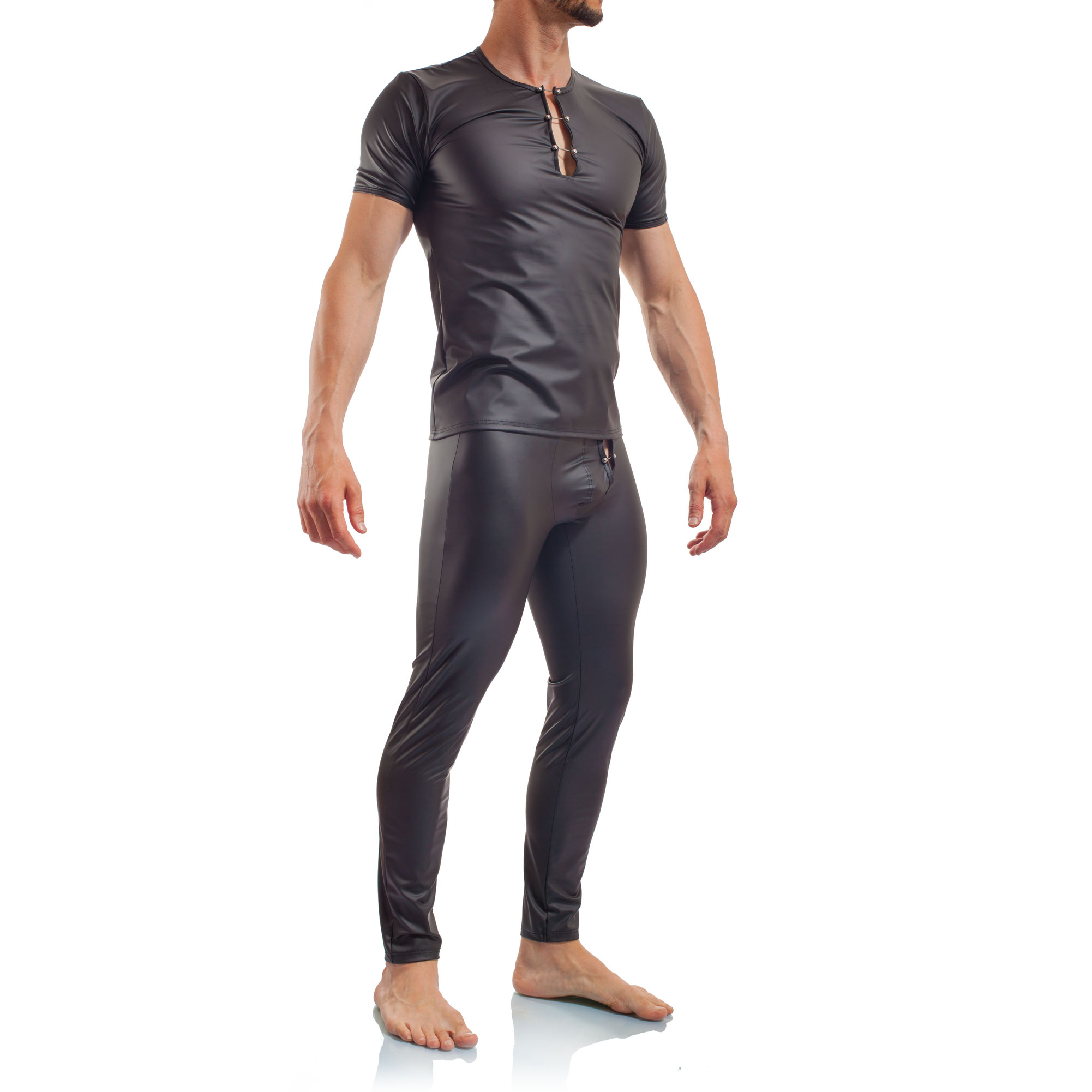 Piercing Shirt, mattes Leder, Synlex, schwarz, Leatherlike, eng anliegendes Männershirt