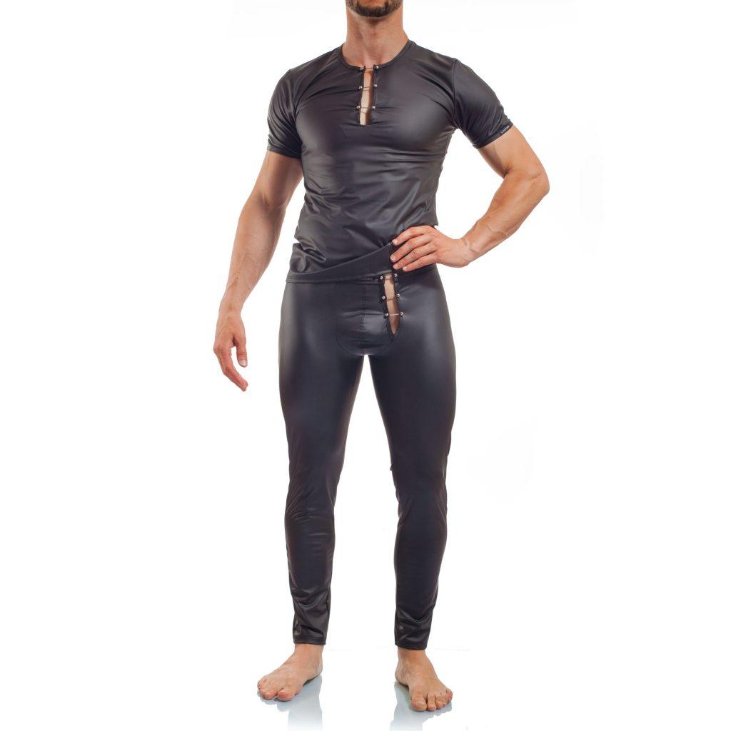 Piercing, mattes Leder, Synlex, schwarz, Leatherlike, eng anliegendes Männershirt