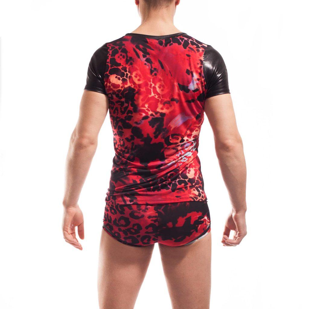 Leored jersey lack shirt, leoparden druck, animal, rot schwarz