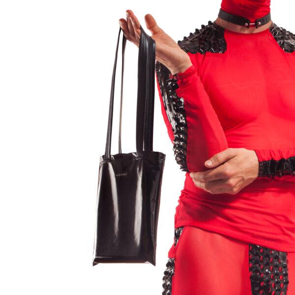 Lack Tasche, glanz, glossy, schwarz, Club Tasche, Innentasche mit Reißverschluss, schlicht, Design, Handtasche für den Mann, club purse men, man handbag