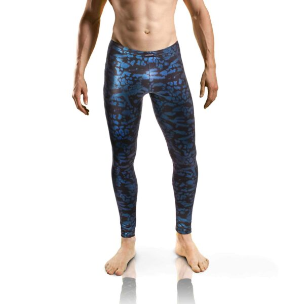 KUNSTLEDER letherlike LEGGINGS Blue Clouds, Lederimitat, letherlike, shorts, enganliegende Unterhose, trunks, metallisch blau