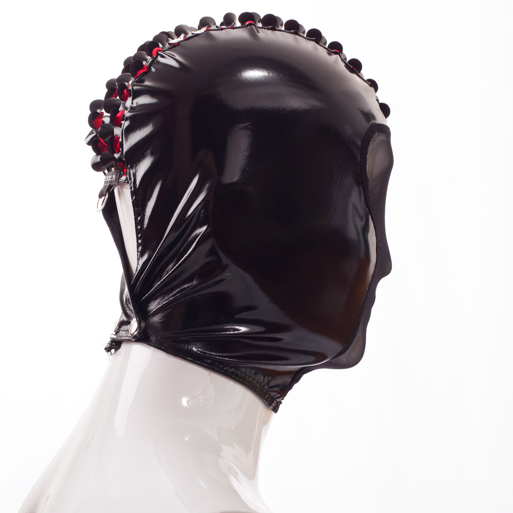 Rebell Fetisch Lack Maske, Wetleather, rotes Netz mit Iro und Metallring, zweiseitig tragbar
