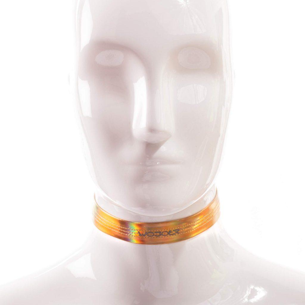 Golden Line, Halsband, String, gold glänzendes Lederimitat, Lack, dehnbar, verstellbar
