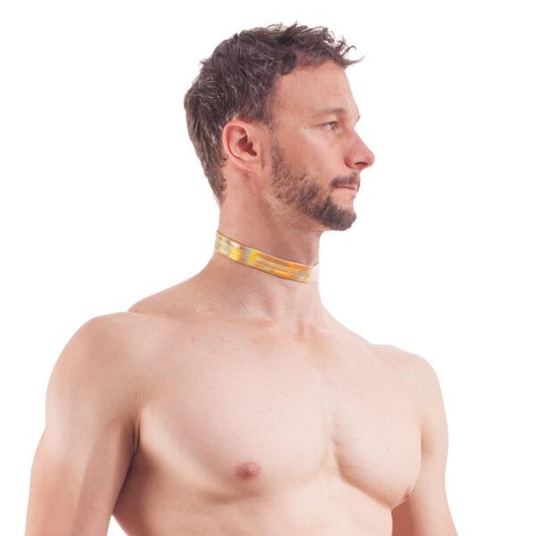 Golden Line, Halsband, gold glänzendes Lederimitat, Lack, dehnbar, verstellbar, WOJOER
