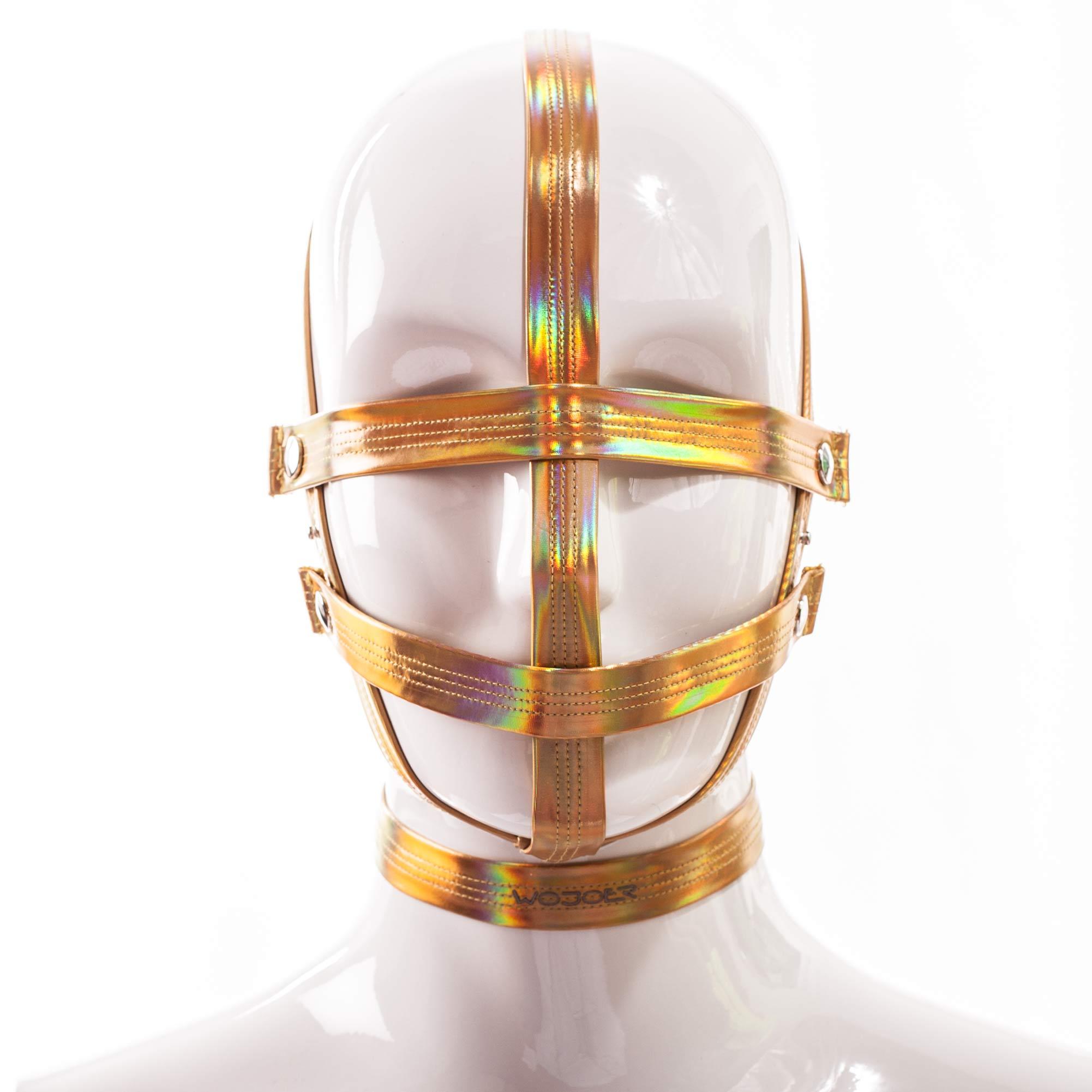 Golden Line, Gold Maske, gold glänzendes Lederimitat, Lack, dehnbar, verstellbar