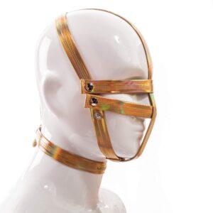 Golden Line, Maske, String, gold glänzendes Lederimitat, Lack, dehnbar, verstellbar